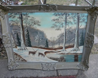 neat large vintage 1960s artist signed henn hemm ? WINTER SCENIC DEER oil painting on canvas