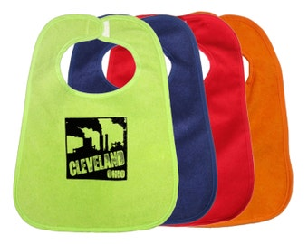 TerryCloth Bib with 'Cleveland Smokestacks' Design (Lime Green, Midnight Blue, Red, or Orange)