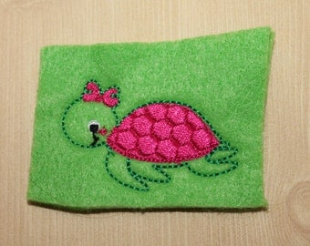 Girly turtle feltie, Pink, lt green, dark purple butterfly felt stitchies, 4 pcs for hair accessories, scrapbooking, or crafts