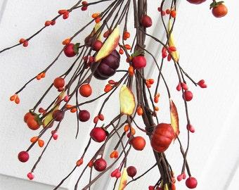 SALE - Fall Garland - Pumpkin Berry Garland - Fall Primitive - Fall Home Decor - Thanksgiving Garland - Fall Wreath - Halloween Craft Supply