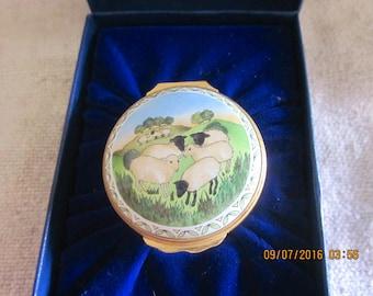 Endearing Halcyon Days Vintage Enamel Ring/Trinket  Box/Grazing Sheep