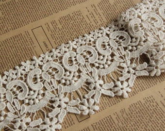 """5 yard 10cm 3.93"""" wide beige cotton embroidered lace trim tapes ribbon h63s free ship"""