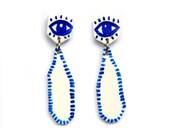 Eye Hand painted Earrings