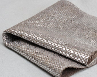 Snakeskin Print Leather ,Metallic Silver Genuine Leather