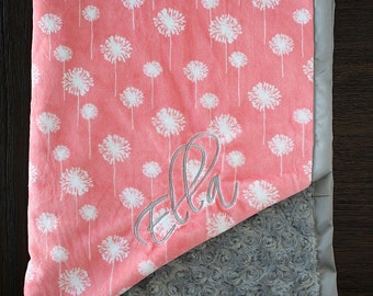 Embroidered Minky Blanket, minky baby blanket, personalized baby blanket, baby girl, minky blanket, baby girl, coral, coral grey, baby gift
