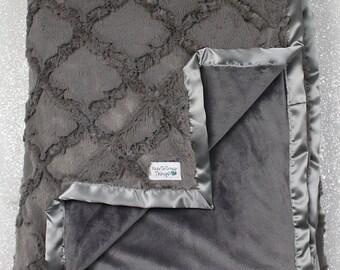 Minky Blanket, grey blanket, grey wedding gift, soft blanket, oyster lattice, baby boy, grey nursery, Embossed chevron, lovie, minky blanket