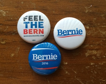 "Bernie Sanders Chub Pack - Set of 3 Bernie Sanders 1"" Pin Back Buttons"