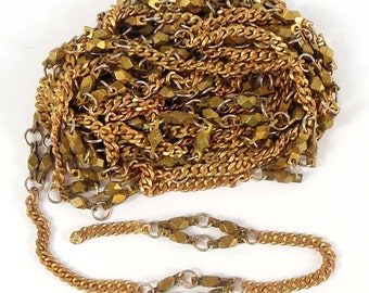 Vintage Jewelry Chain, Beaded Chain, Vintage Jewellery Supplies, Patina Brass, 7mm Wide, 5 Continuous Feet, B'sue Boutiques, Item08359