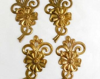 Vintage Brass Flower Bouquet, Flower Spray, Flower Stampings, Jewelry Supplies, Jewelry Making, Raw Brass, US Made, 85x48mm, B'sue,Item07608