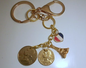 France Vintage Coin Keychain1966/1989