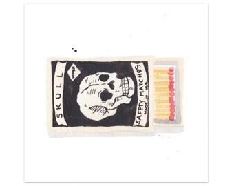 "Skull Matchbox Mini Art Print nature matches vintage matchbook watercolor giclee print 5x7"", 8x10"""