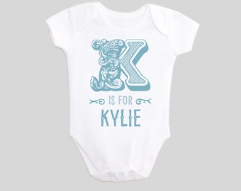 Personalized Alphabet Letter Baby's First Name Custom Baby Bodysuit one piece Baby Outfit with Saying for New Babies & Toddlers