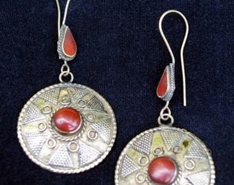 WINTER SALE Vintage Afghanistan Kazakh Style Gypsy Tribal Earrings Gold Wash Red Uber Kuchi®
