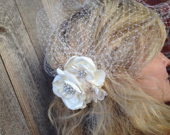 Ivory Russian Net Birdcage with flowers, Wedding Veil, French Net Veil with ivory flower trio