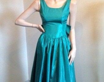 80s Green Taffeta Dress