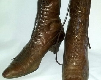 Antique High Top GRANNY BOOTS Lace Up Edwardian Leather Brown Sz 8 Narrow SALE