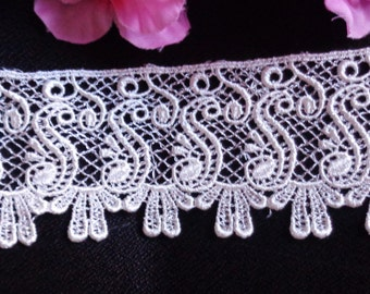 Venise Lace, 2+1/2 inch wide ivory color selling by the yard