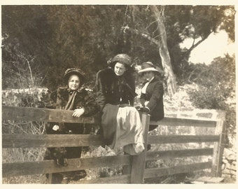 "Vintage Photo - ""Waiting On A Ride"" - Three Victorian Era Women Sitting On A Fence - Found Original Snapshot - Antique Photo"