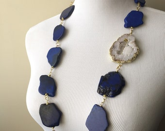 Blue, White and Gold Agate Druzy Statement Necklace I - Serena Van Der Woodsen Inspired Necklace - Gossip Girl Necklace - Boho Collection