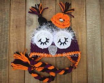 Baby Girl Sleepy Owl Fall/Halloween Hat, First Photos, Baby Shower Gift, Photography Prop - MADE TO ORDER