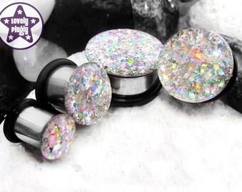 "Silver Machine Holographic Glitter Plug / Gauge Silver Rainbow Prom / Wedding 4g 2g 0g 00g 7/16"" / 5mm 6mm 8mm 10mm 11mm"