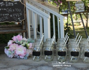 Chalkboard Wedding Favors, 24 Mason Jar Chalkboard Labels, Mason Jar Wedding Favors, Rustic Wedding Decor, Mason Jars NOT included