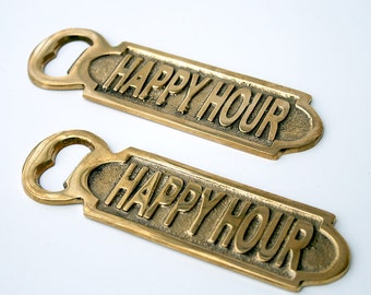 Vintage Brass Happy Hour Bottle Opener