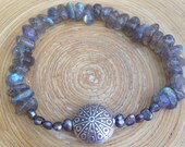 Sale - Delicate labradorite and silver fresh water pearl stretch bracelet with Hill Tribe silver focal