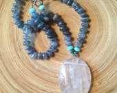 Kyanite and quartz crystal statement necklace choker