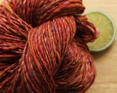Cherry Twist - Utah Handspun Yarn DK Alpaca Wool Silk Red