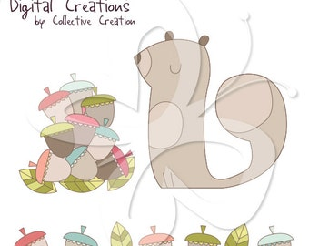 Look what I found - Squirrel and Acorns Digital Clipart Set - Personal and Commercial Use