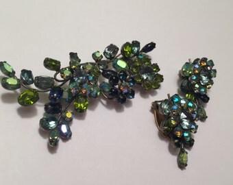 Vintage Schreiner New York Rhinestone Brooch Earring Set