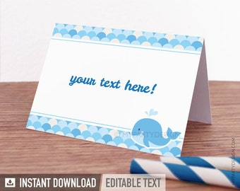 Whale Food Labels - Place Cards - Whale Baby Shower - Boy Blue - Whale Party - INSTANT DOWNLOAD - Printable PDF with Editable Text
