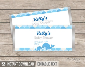 Whale Chocolate Wrappers - Whale Baby Shower - Boy Blue - Whale Party Labels - INSTANT DOWNLOAD - Printable PDF with Editable Text
