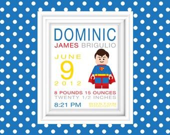 Superhero Superman Birth Stat Wall Art Personalized Birth Announcement New Baby Superhero Nursery Baby Boy Art Birth Stat 8x10 Wall Art