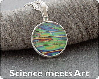 Chemistry Jewellery - Science Necklace - Chemical crystals (Imidazole) viewed by polarised light microscopy