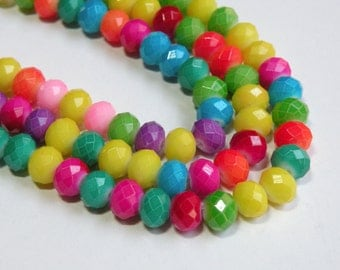 Bright Neon Rainbow Bead Mix faceted glass rondelle beads 8x6mm half strand 08-961