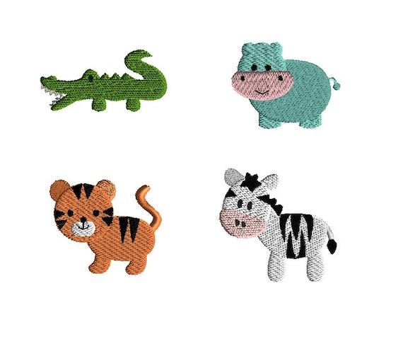 Mini african animals machine embroidery design set instant