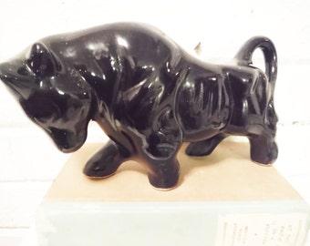 Taurus figurine fierce bull black ceramic vintage mid century statuette