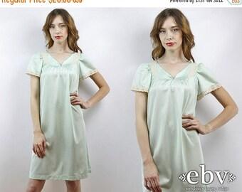 Vintage Slip Lace Slip Dress Vintage Nightie Vintage Nightgown S Slip M Slip Seafoam Slip 70s Slip Vintage 70s Seafoam Slip Dress S M