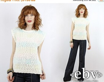 Summer Knit Vintage Sweater Vintage Knit Vintage Jumper Vintage 80s Striped Sweater Pastel Sweater