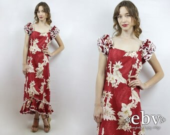 Vintage 70s Red Hawaiian Floral Maxi Dress S Floral Party Dress Hawaiian Dress Luau Dress 1970s Maxi Dress 70s Dress Hawaiian Maxi Dress