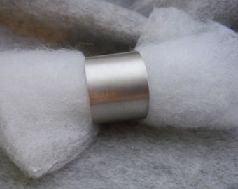 Brushed Texture Sterling Silver Cigar Band Ring, Band Ring, Adjustable Ring, Sterling Silver Statement Ring, Silver Ring