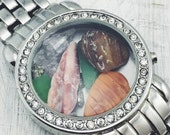 Watch Locket - Water and Earth elements (crystal jewelry, healing crystals, seaglass, upcycled, gift for her)
