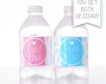Team Pink or Team Blue - 25 Gender Reveal Water Bottle Labels, Birthday, etc - Waterproof and self stick - Baby Shower Decorations