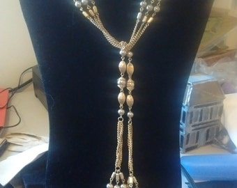 Sarah Coventry Golden Drop-thru Balls and Chains Necklace