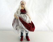 Reserved for Customer - Alice in Red cloth art doll poseable wire armeature