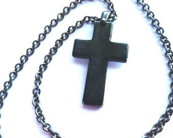 Signed BLACK METAL Vintage Cross Pendant, Black Cross with Neck Chain, Mens Cross, Designer Black Cross, Black Cross Necklace, Black Metal