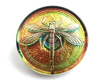 31mm Golden Dragonfly, Large Czech Glass Button, Iridescent Green, Yellow, Purple, Handmade Button bead, size 14, 1pc - 1112