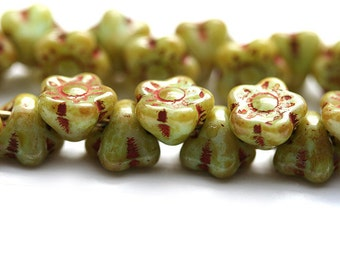 25pc Button style Flower beads, Picasso Rustic Green, Czech glass floral beads - 7mm - 1824